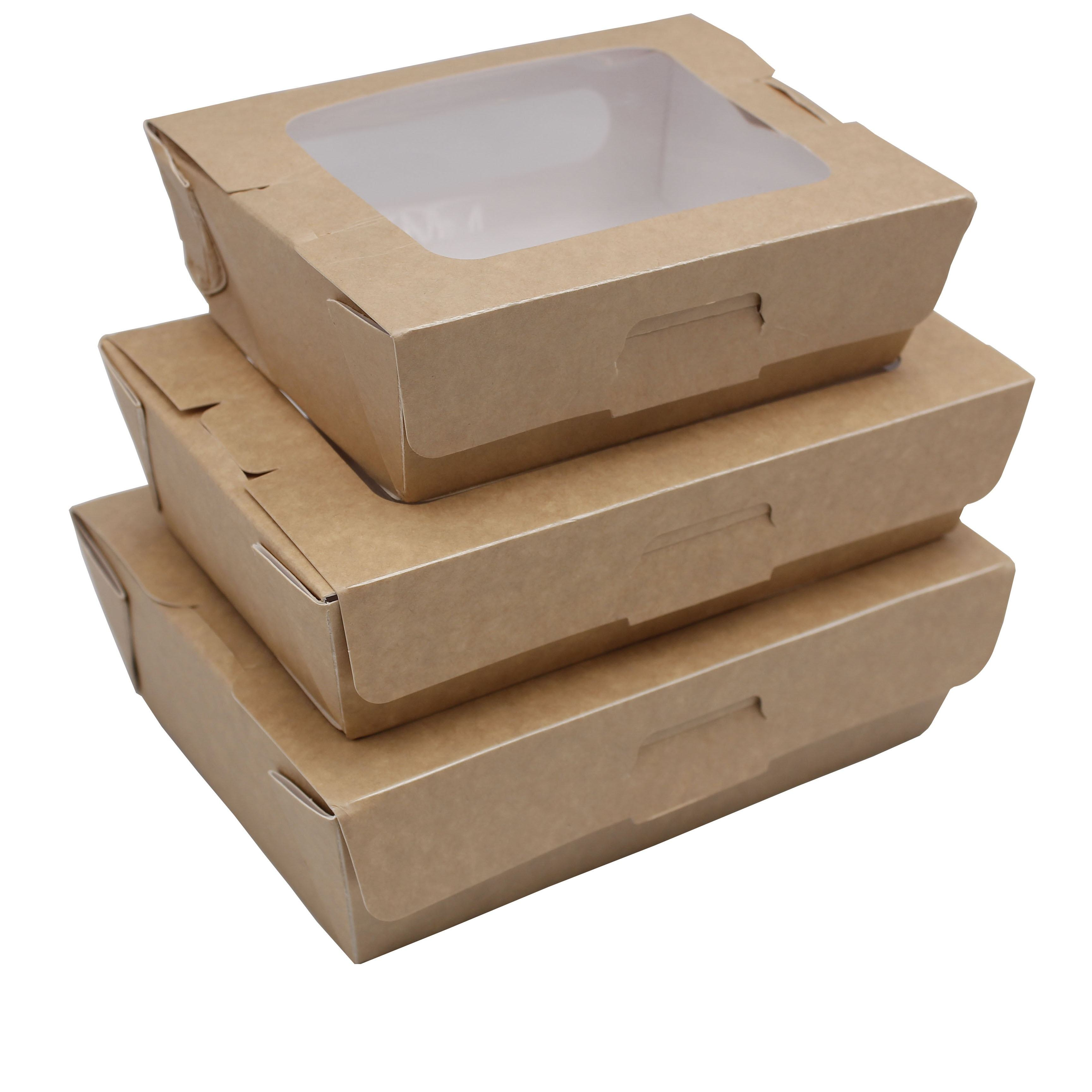 food container with windows packaging disposable craft takeaway paper box for restaurant