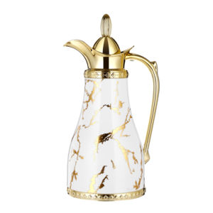 Dubai Arabic Style Durable Inner Glass Tank Water Coffee Thermo Pot With Golden Handle