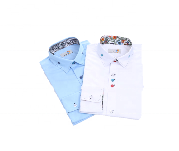 2020 Light blue contrast paisley printed collar 100 cotton men casual business shirt