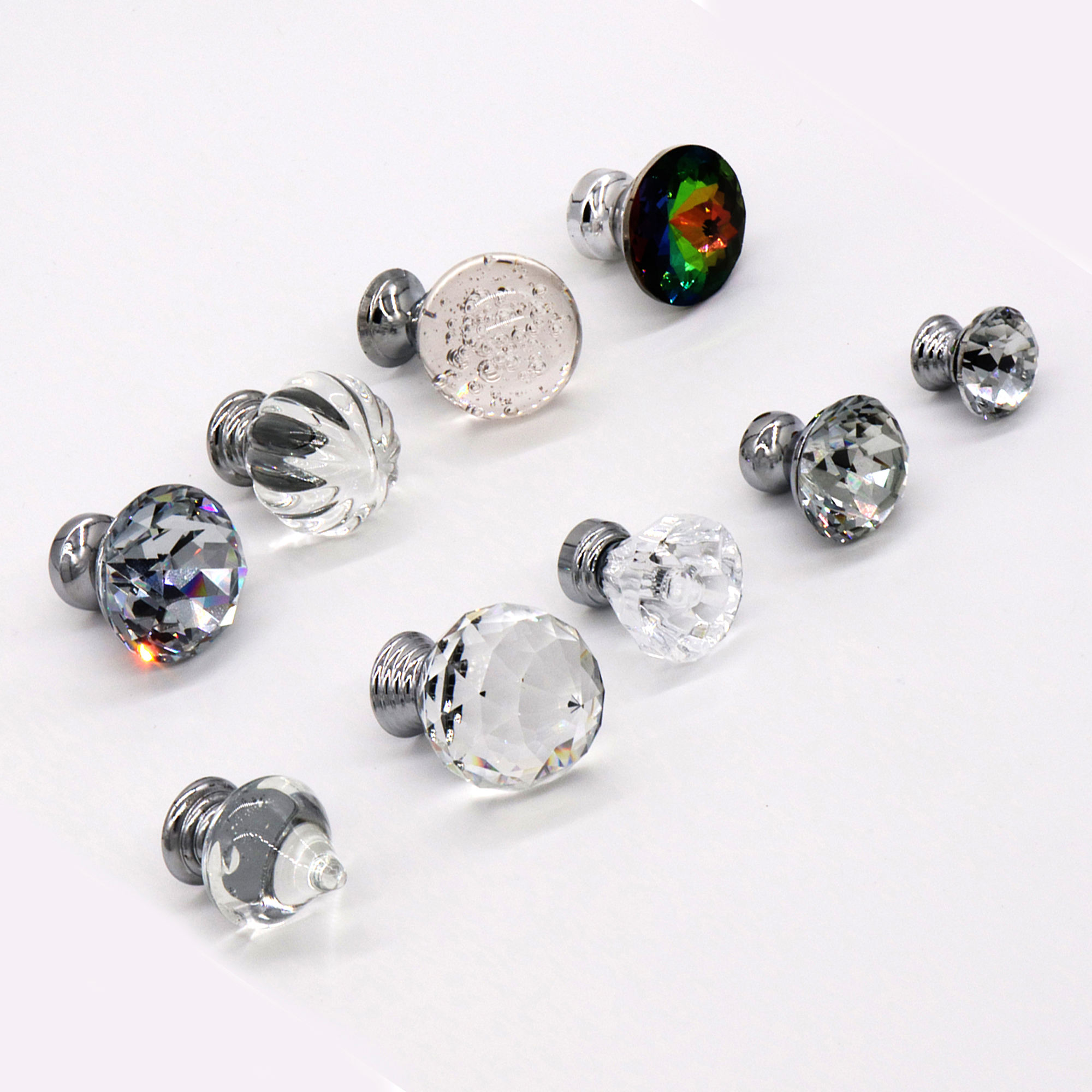 Knob Decorative Cheap Round Modern Wardrobe Drawer Furniture Chrome Acrylic Crystal Pull Kitchen Cabinet Crystal Handle Knob