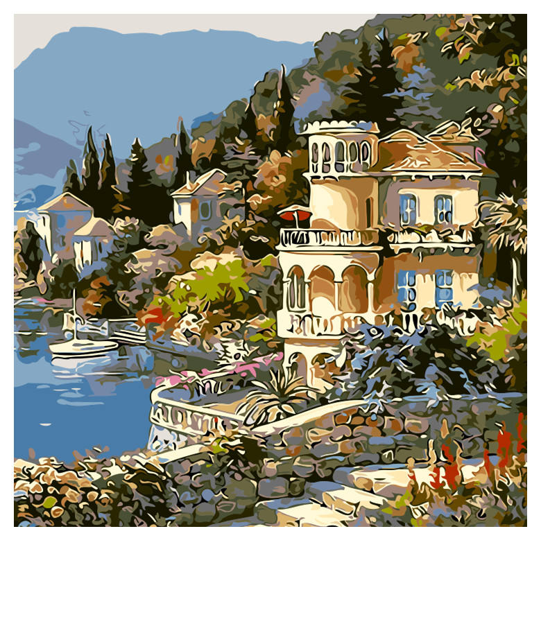 Custom designs DIY painting seaside village house paint by number kits handmade oil painting on canvas