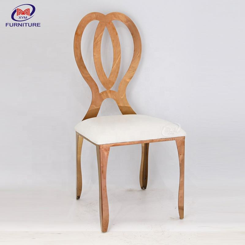 New design hotel furniture rose golden events used dining stainless steel chair