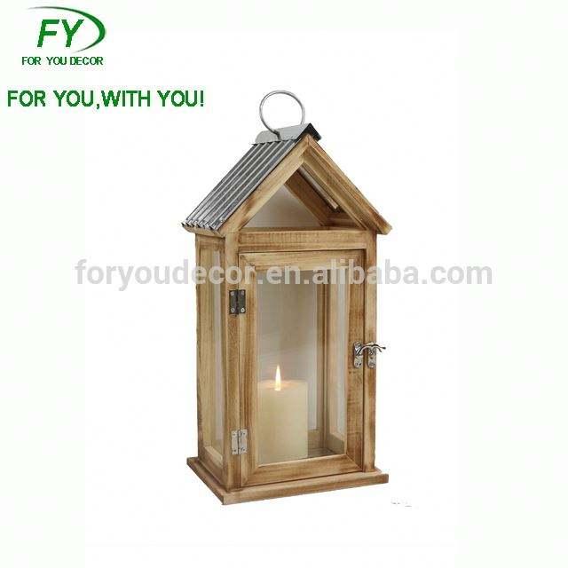 Chino barato al por mayor forma de <span class=keywords><strong>Casa</strong></span> de zinc de madera marroquí vela linterna