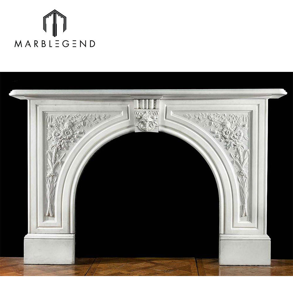 prefab hand carved Victorian arched antique marble fireplace surround