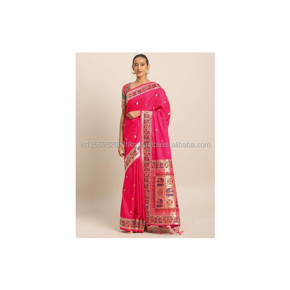 Flaher Banarasi Zijde Traditionele Designer Saree In Fuchsia Met Blouse Indian Party Saree