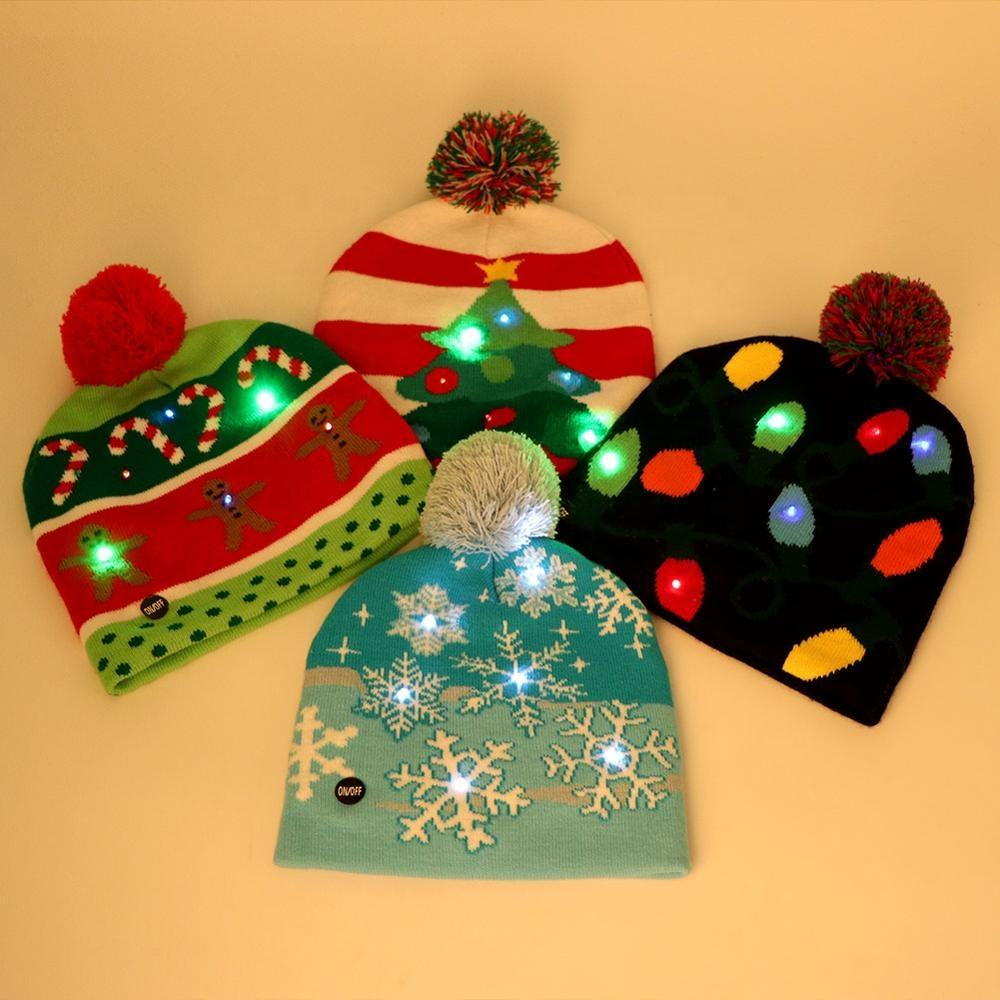 2020 New Fashionable Custom Christmas LED Light Hats Xmas Beanie Hat LED Pom Pom Christmas Hat for Christmas Party