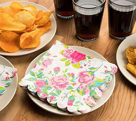 Die-cut Cocktail Napkins Floral Design with Scalloped Edge Disposable Paper Napkins Birthday Party Supplies, 2-Ply,