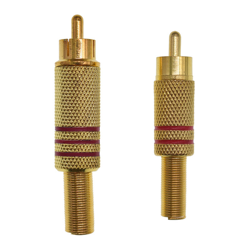 High quality RCA Male Connector Plug with Spring Coax Audio Solder Adapter Gold
