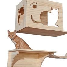 Cat climbing frame solid wood DIY platform cat wall house climb track springboard sisal grab post cats drill hole wall mounted