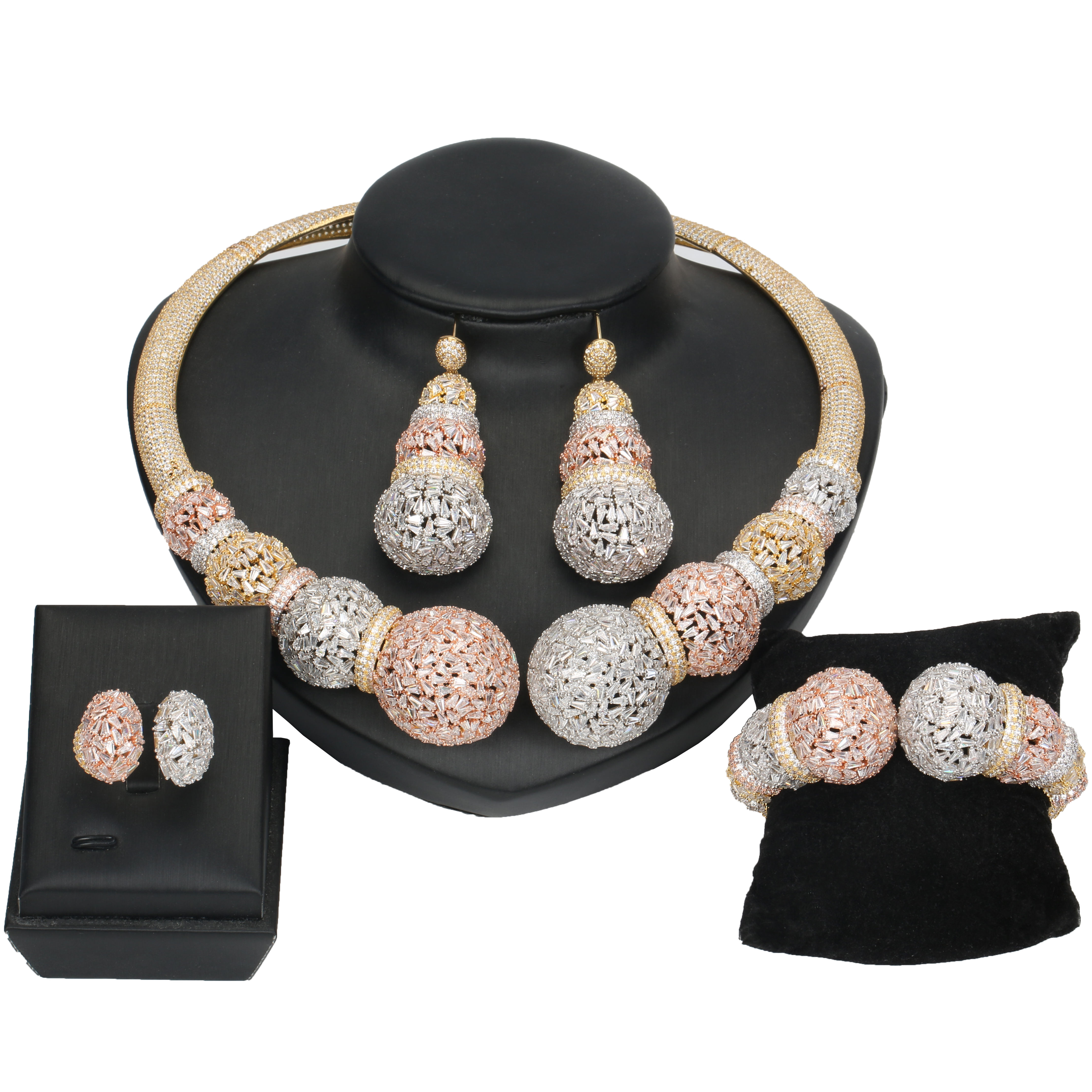 DV XIAOSHI China manufacture AAA cubic zirconia bridal jewelry sets popular designs