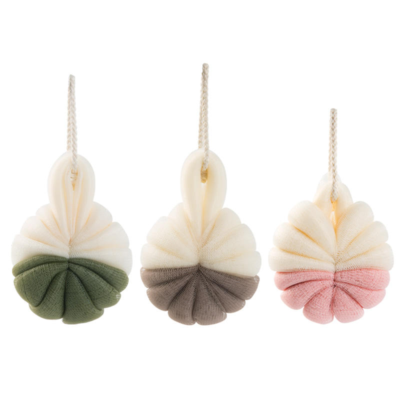 Comfortable soft types of cleaning dead skin removal color rubber bath brush balls with foam mesh shower bath sponge