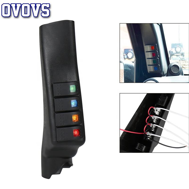OVOVS JK A Pillar Switch Car Accessories Switch Pod with 4 Rocker Switches Car Panel For Jeep Wrangler JK