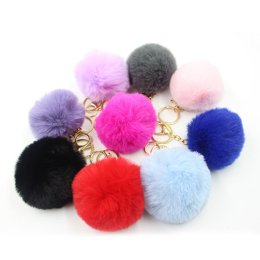 Key Pom Ring Keyring Promotion Keychain Keyring Bag Charm Custom Design Key Rings Pom Pom Key Chain