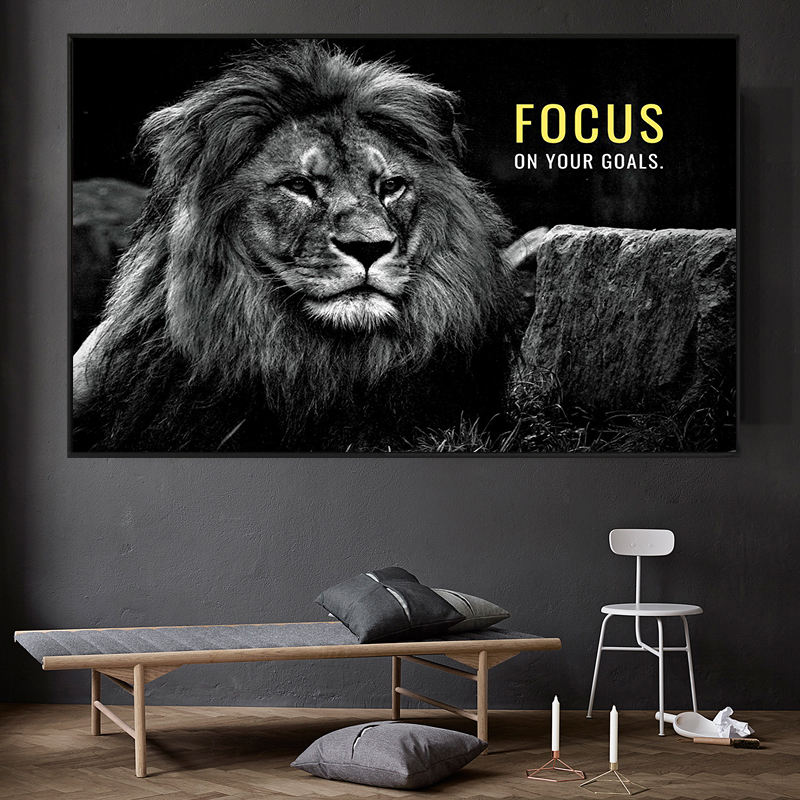 Animals Lion Motivition Quotes Focus on Your Goals canvas Painting l Print Picture home decoration living room Study Decoration