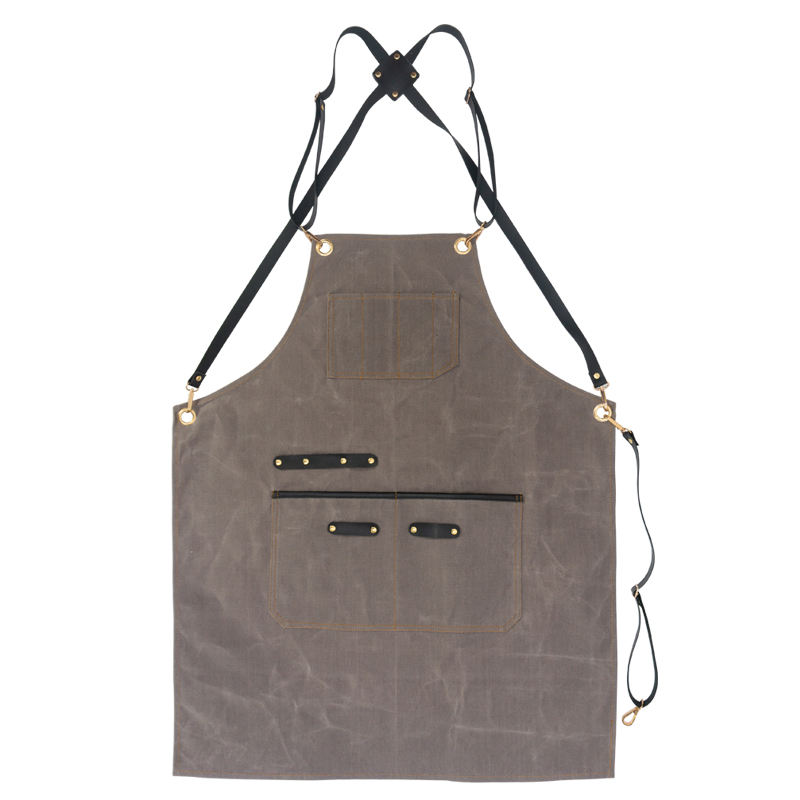 Stylish Textured Shaped 12oz Wax Canvas Waterproof Apron Match Leather Shoulder Straps and Metal Button For Bar Work Apron