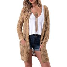Basic Style Hoodie Hollow Cardigan Sweater Mujer