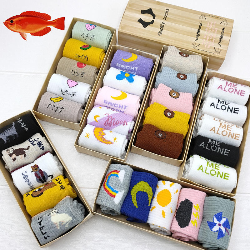 Wholesale Good Quality Cheap Cute Cartoon 5 Pairs Gift Box Pack Cotton Crew Women Socks