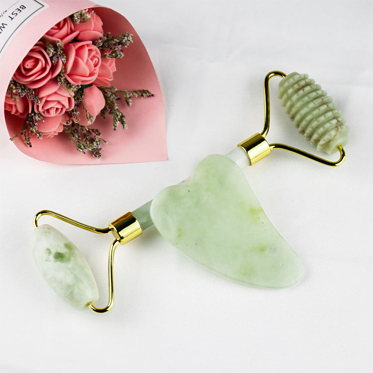 Female Anti Wrinkle Face Lifting Massager Natural Green Quartz Jade Roller For Face