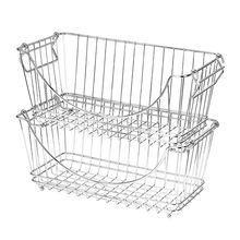 Food/Fruit/Vegetable Chrome Metal Stacking Wire Baskets Organizer With Handle