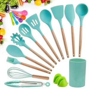 15pcs Kitchen Utensil Set Silicone Spatula Set Cookware Turner Tongs Spatula Spoon Cooking Utensils with Wooden Handles