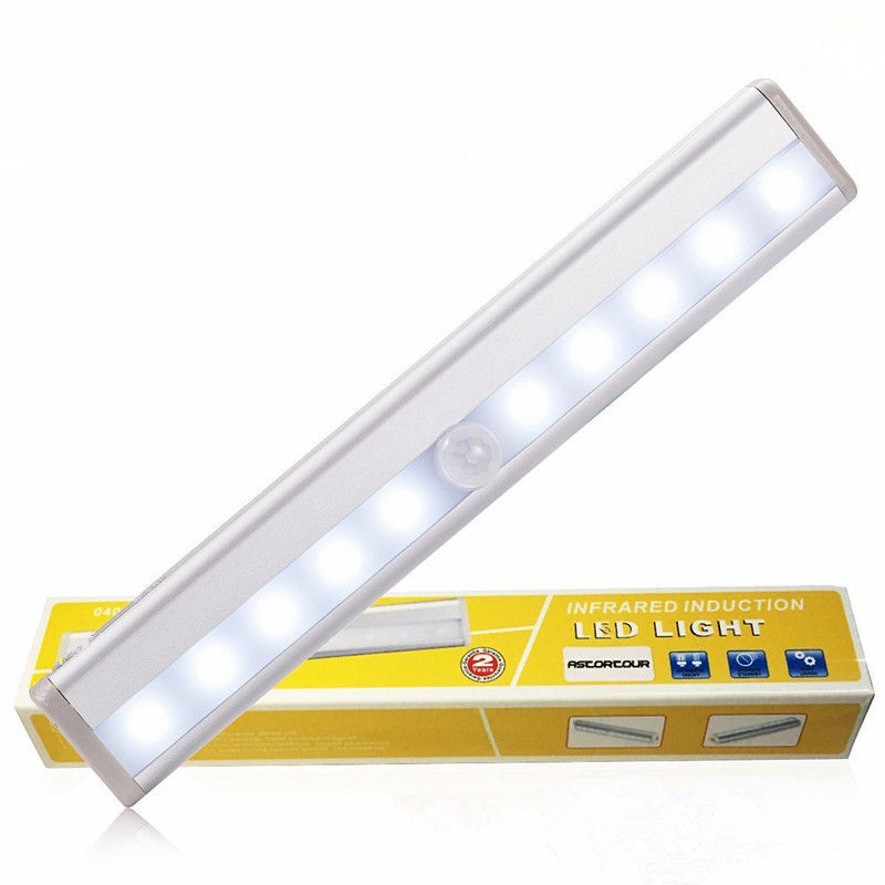 LED Closet Light Motion Activated, Cordless Under Cabinet Motion Sensor Light, 10 LED Motion Sensor Night Light