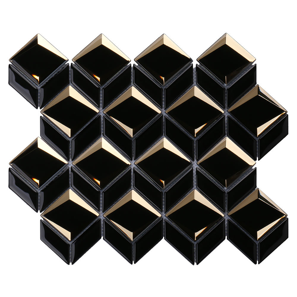 Luxury 3D diamond mirror mosaics tiles irregular waterjet hexagon black and gold glass mosaic