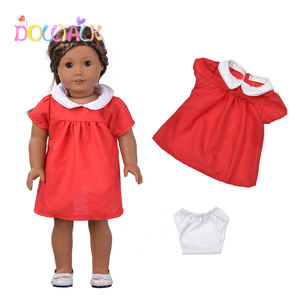 Wholesale YIWU MISU Company Custom 18-inch American Doll Cotton Red Short Dress With Panties Lovely Doll Clothes