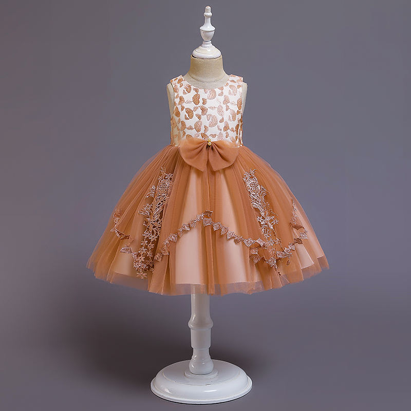 New fashion brown kid girl christening dress party wedding dress