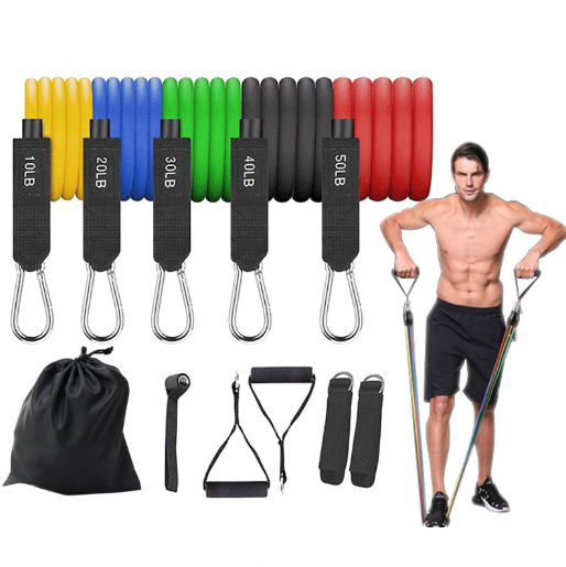 Custom Logo Printed TPR TPE Latex Tubes Heavy Duty Workout Equipment Fitness Exercise Elastic 11 Piece Resistance Bands Set