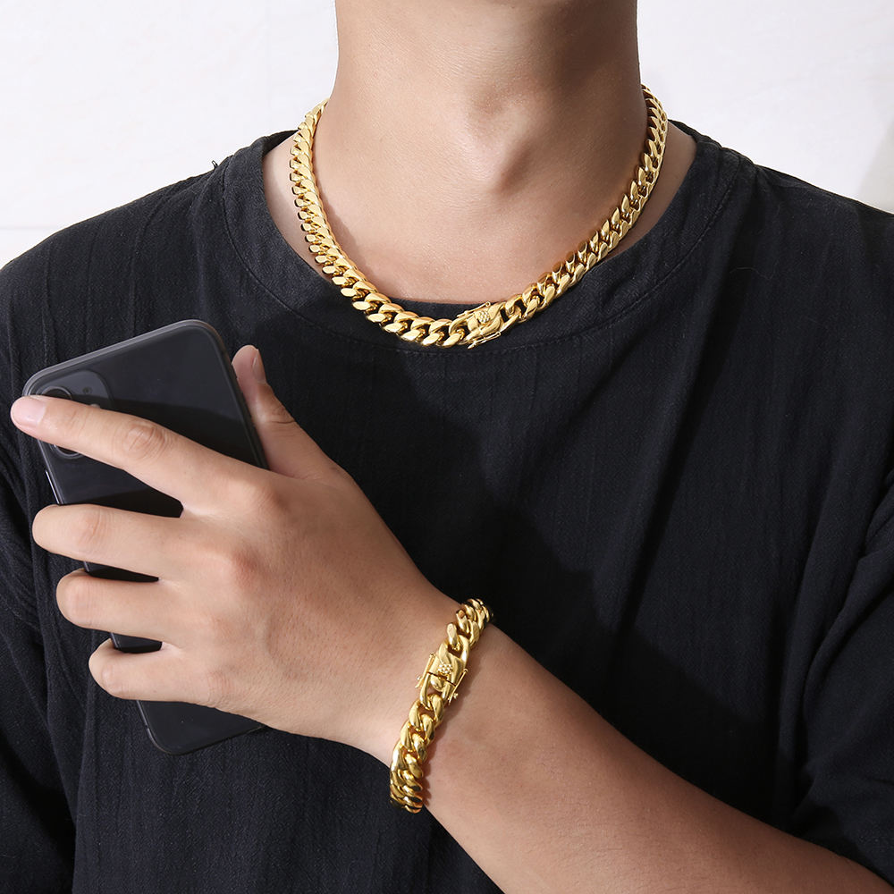 Hip hop mens jewelry titanium steel miami cadena cubana hollow choker necklace jewellry gold plated curb cuban link chains