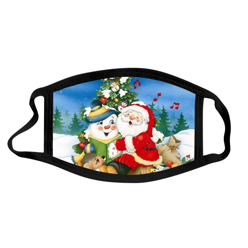 Fast delivery Snowman Santa Claus maskes sublimation print washable reusable fashion cotton christmas facemask christmas maskes