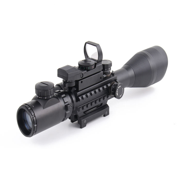 NcDe Dual Illuminated Mil-dot Reticle C4-12X50EG AR15 Tactical Rifle Scope Red Laser