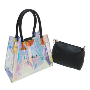 2 in 1 clear laser pvc jelly women tote handbag holographic hand bag