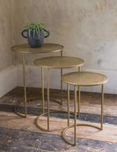 Morden Unique Accent Gold Metal Side Table Set of 3