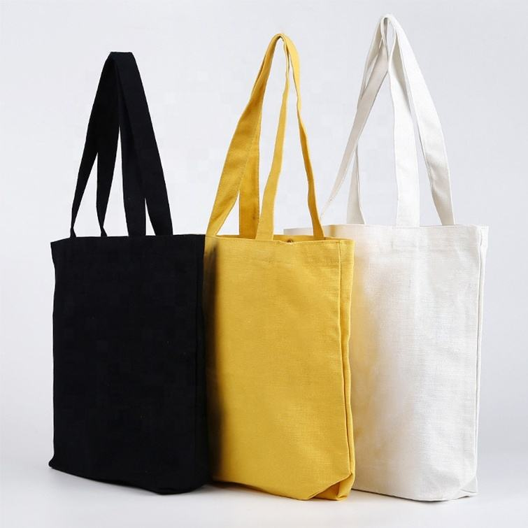 Ginzeal Plain Fashion Shopping Zipper Print Canvas Tote Bag