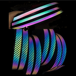 2020 reflective tc ribbon tape / rainbow color polyester fabric reflective strips / iridescent retroreflective tape