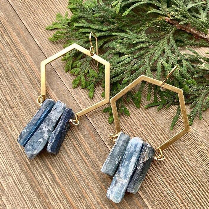 LS-D1256 Hot Selling Natural Blue Kyanite Earring with Geometric Drawing For Women Jewelry