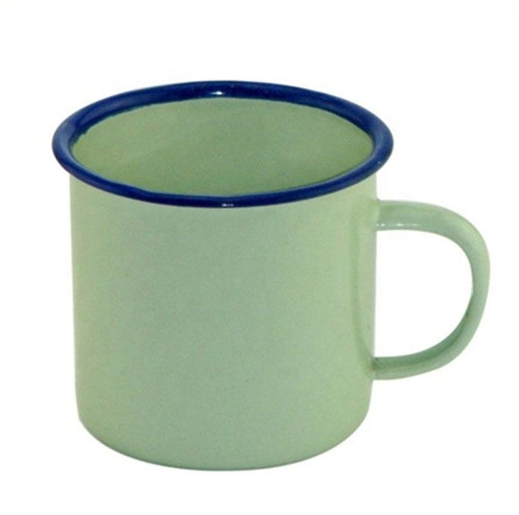 Eco-friendly Reusable Black-green Enamel Cup 6-8 Cm With Dark Blue Edge And Handle
