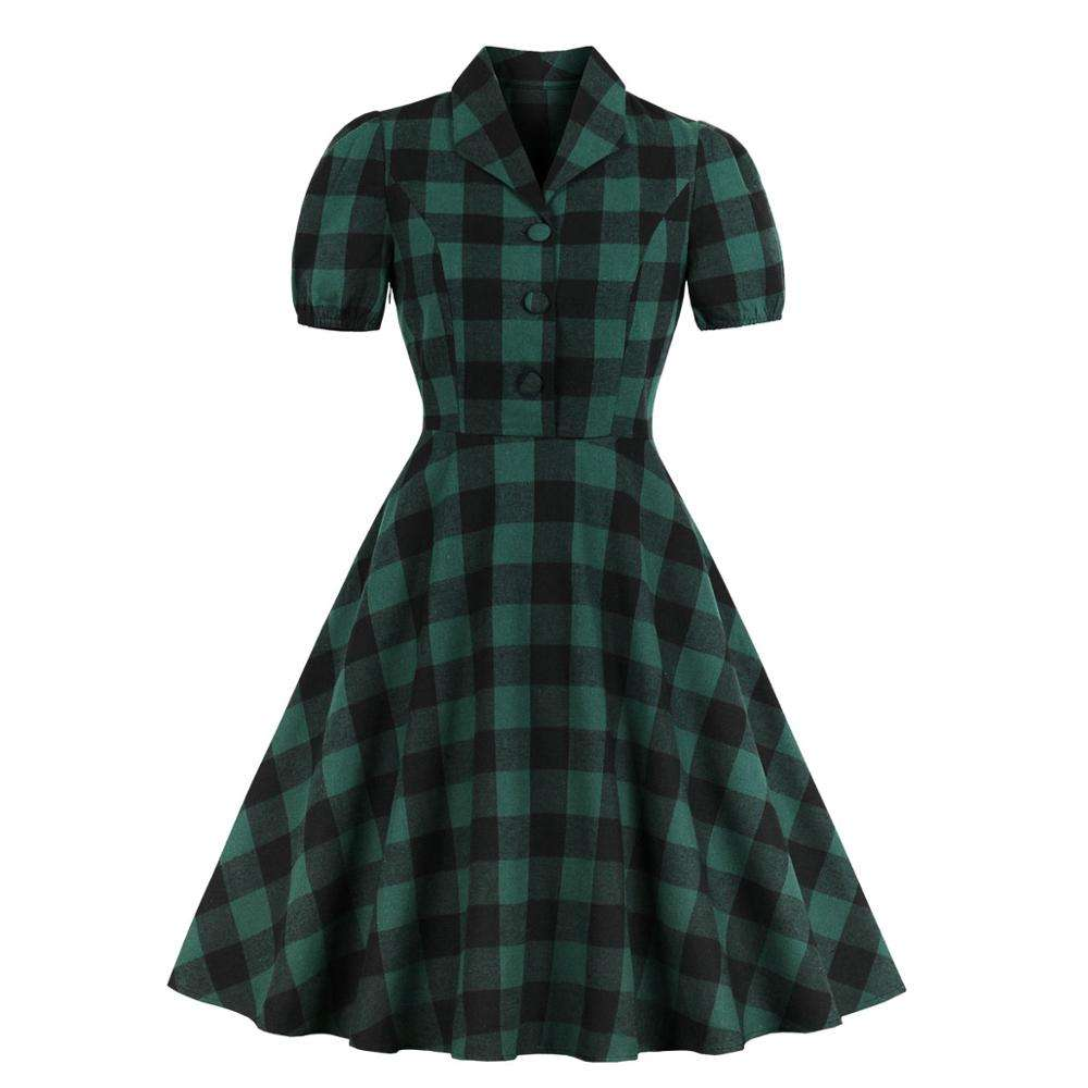 Lady check shirt dress short sleeve buttons green plaid england style fashion cotton women dresses with pockrts