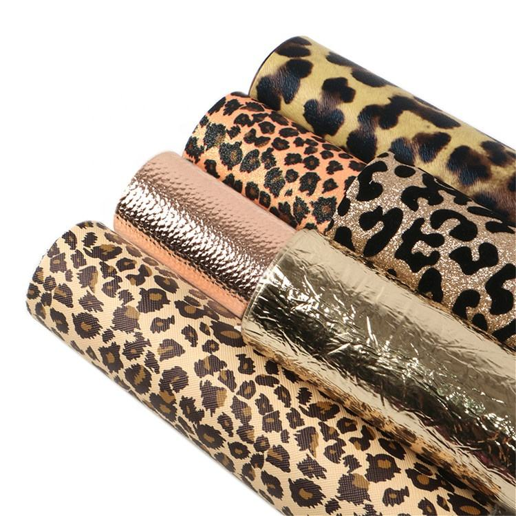 6pcs/set Wholesale Leopard Printed Synthetic Leather Sheet Fabric Set 90805