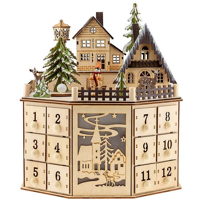 Clever Creations Traditional Wooden Advent Calendar Festive Christmas Village Design with 24 Drawers LED Christmas Lights and Ro