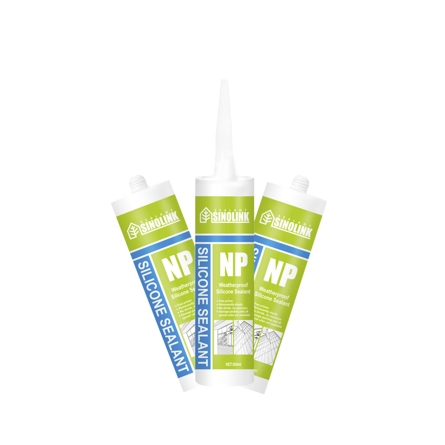 SINOLINK neutral cure 100 % silicone sealant clear cartridge for building