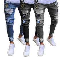 Badge Men's Jeans inkjet graffiti straight leg pants loose print ripped trousers patch bottoms Fashion Knee Hole Zipper Foot Pan