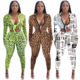 2019 New Arrival Wholesale Winter Sexy Long Sleeve Jumpsuit Women Printed Bodycon Casual Jumpsuit