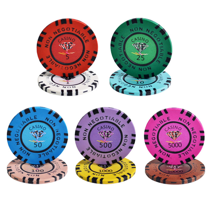 45mm Casino Diamond Poker Chips Sets Texas Hold'em Poker 13.5/g Clay Composite with Inner Metal Cheap Chips