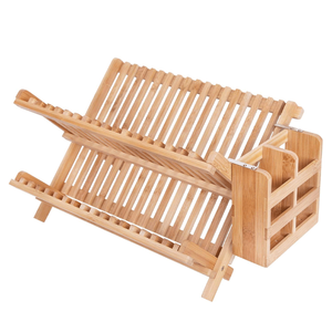 Bamboo Folding 2-Tier Collapsible Drainer Dish Drying Rack With Utensils Flatware Holder Set With Utensil Holder