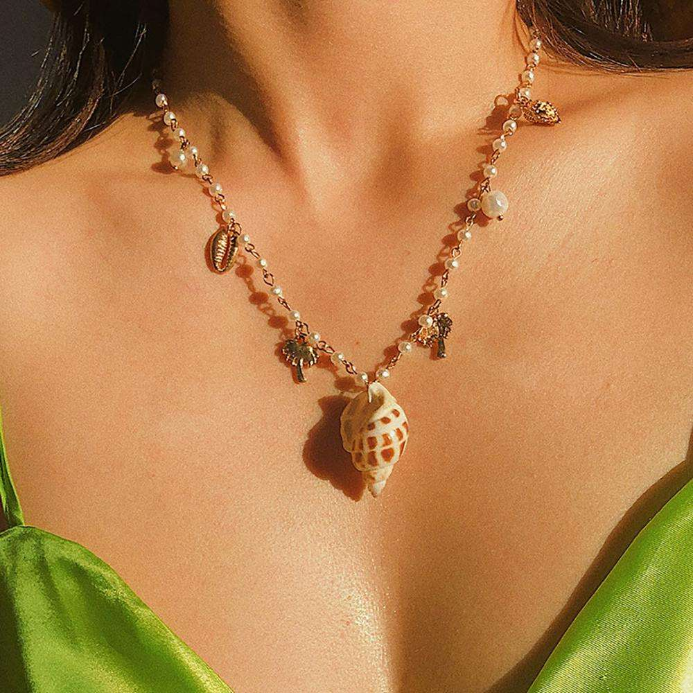 Bohemian Coco Conch Item Asymmetric Shell Pearl Fringe Necklace