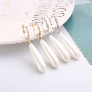 Long Water Drop Pearl Earrings Cubic Zirconia Plated Gold Silver Needle Hypoallergenic Drop Earrings For Women Gifts