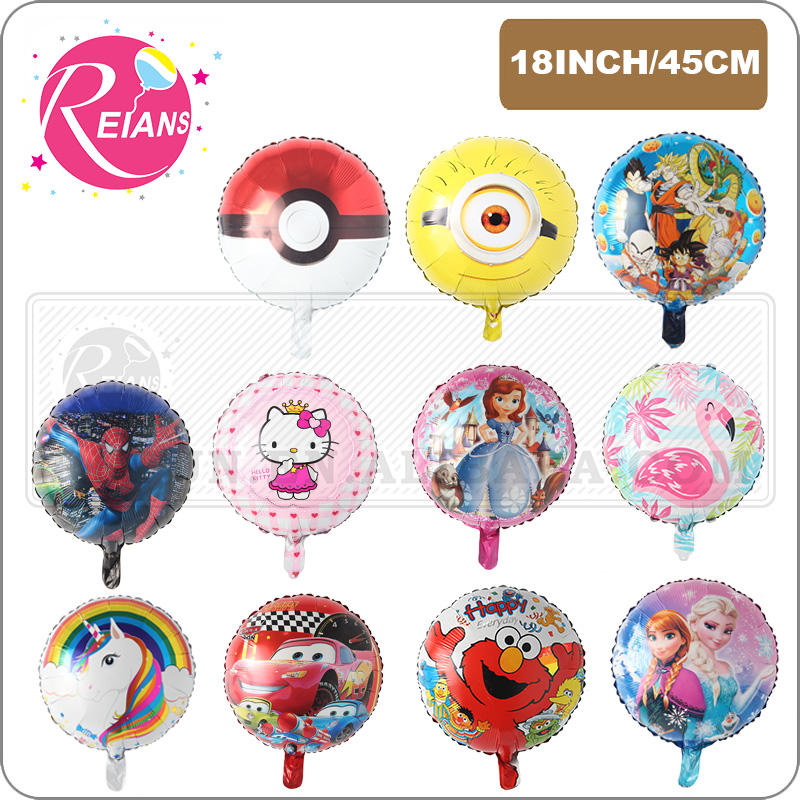 18inch round Cartoon unicorn Mickey Minnie mouse dragon figure cartoon balloons birthday party decoration foil balloon globos