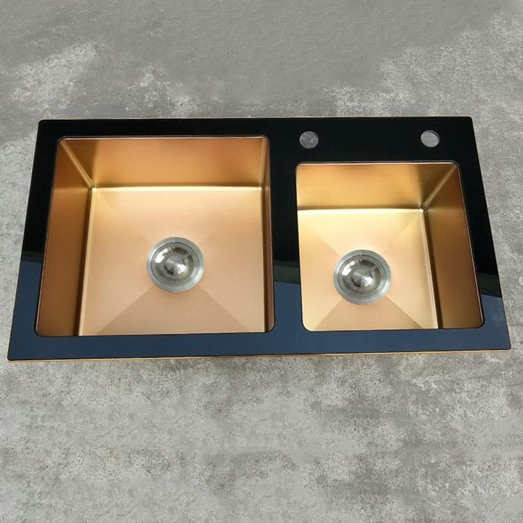 Factory direct stainless steel hand sink Export to India rose gold nano kitchen wash basin